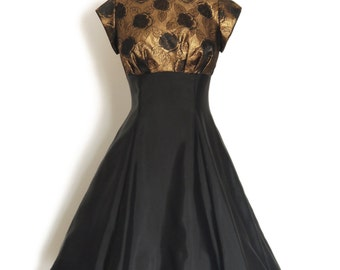 UK Size 14 Black Vintage Taffeta & Copper Sparkly Brocade Party Dress - Made by Dig For Victory R.T.S