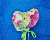Infant Baby Bonnet Ivory with Pink Roses Green Leaves