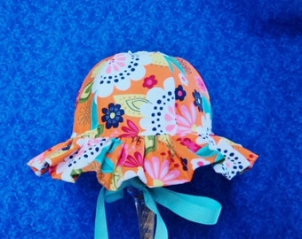 Baby Sun Hat Ruffled Brim Colorful Orange with Flowers