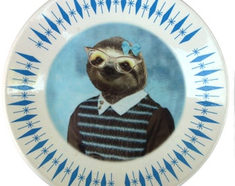 Sylvia Sloth School Portrait Plate- Altered Vintage Plate, 10""