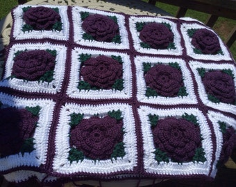 Purple Rose Afghan with Ruffles, Satin Ribbons & Bows -  Ready to Ship! - 48 squares