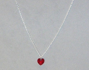 Red Swarovski Heart Necklace