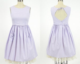 1950s Sundress, Vintage 50s Dress, Purple Gingham Open Back 1950s Dress, Teens Petite Woman Size XS - S