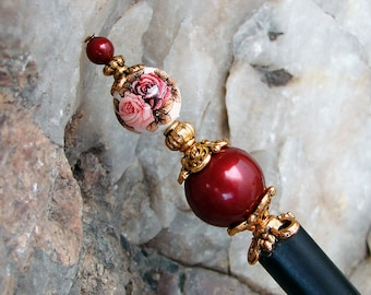 Burgundy Floral Hair Stick with Swarovski Bordeaux Pearls and Japanese Tensha Flower Hairstick Wine Burgundy and Pink - Andra