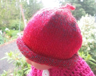 3 Months - 3 Years Baby Red Beanie Knitted by SuzannesStitches, Baby Girl Beanie Hat, Baby Boy Red Beanie Hat, Roll Brim Baby Red Beanie Hat