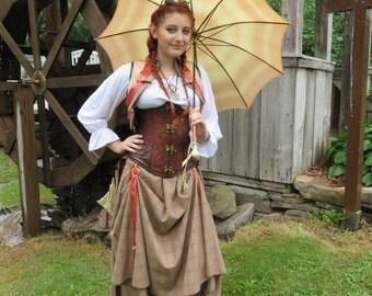 "Orange with brown plaid hitcher skirt and bolero 30"" long steampunk, cosplay, lolita"