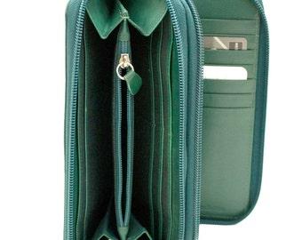 Genuine Soft Leather Double Zipper Clutch Trunk Wallet in beautiful PINE Green, RARE!