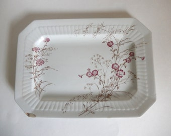 Antique 1800's Sylva English Ironstone Pottery Floral Transferware Platter -  Vintage Victorian England Decor