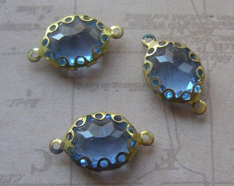 Glass Connectors - Blue Glass Cabochons - Brass Settings - Vintage Glass - Unique Jewelry Supply - Blue Rhinestone- Oval Glass Jewels