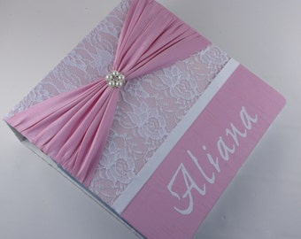 PHOTO ALBUM Baby Girl Photo Album Personalized Photo Album girl baby photo album custom photo album 4x6 5x7 8x10 picture pink satin lace