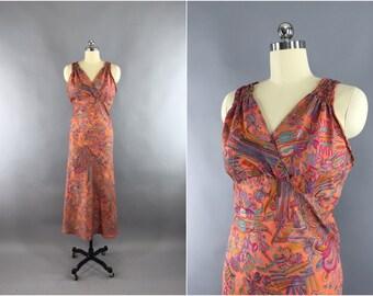 Indian Sari Maxi Dress / Vintage Indian Sari / Rayon Sundress / Loungewear / Bias Cut Dress / Orange Abstract Feather Print