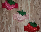 STRAWBERRY Dots Baby Snap Clip - You Choose ONE - Pink, Hot Pink or Red Hair Clip