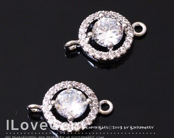 SALE / 10pcs / NP-1840 Rhodium Plated, Cubic zirconia, 9mm Round Connector, Cubic connectors, Brides, Wedding Jewelry