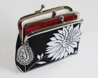 2 Compartment Coin Purse in Black and White Japanese Flowers
