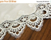 Large White Doily, Machine Cut Synthetic Lace, Centerpiece or Table Topper 13565