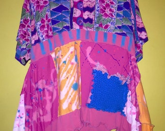 Pink Blue button front tunic upcycled recycled fits XL 1X