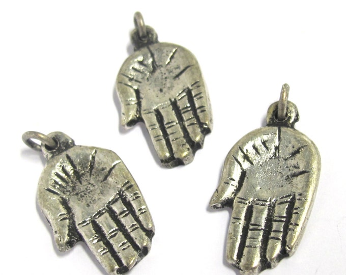 4 Pieces -  Small Petite size Tibetan silver Buddha hand charm Pendants from Nepal - CP099