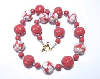 Pink and White Kazuri Necklace, Ceramic Jewelry, Kazuri Bead Necklace