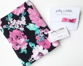 SO soft--Baby girl swaddle blanket and bow headband set. Pretty pink, black, and mint floral with pink leather bow