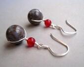 Jasper Earrings, Sterling Silver Earrings, Dyed Jade Earrings, Stone Earrings, Modern Gemstone Jewelry, Grey Jasper