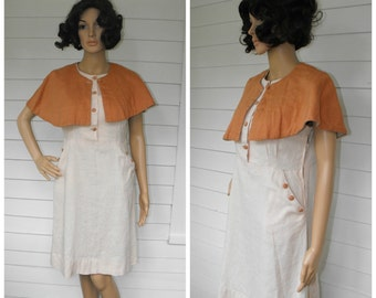 50s Linen Dress Sleeveless Capelet Cape Vintage 1950s M L