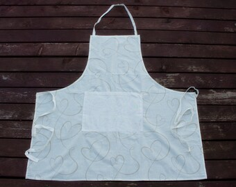 100% Cotton Apron, Kitchenware , Full Length Apron, Chef Apron, Hostess Apron, White Beige Colors, Cooking, Fashion