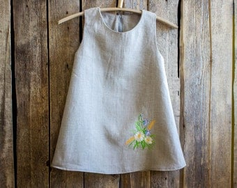 Linen Embroidered Dress, Flower Girl, Rustic Wedding, Gray Linen, Round Neck, Country Dress, Handmade, Flower Embroidery