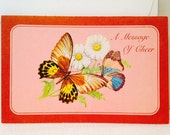 Vintage Cards, Unused, Set of 3 A Message of Cheer Friendship Comfort Greeting Cards, Religious Bible Verse, Butterfly, Rose Pink, Nature