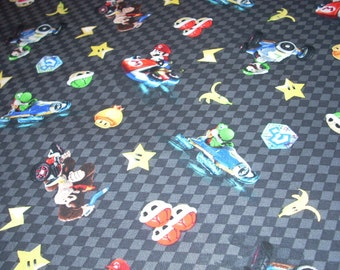 "Mario Kart - Black Checker cotton fabric  -  43"" wide - sold by the yard"
