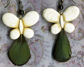 Dangle Earrings - Butterfly Earrings - White Howlite w Peacock Feather - Feather Earrings - R46