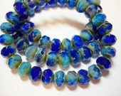 25 8x6mm The Blues Blue and Aqua Blend Czech Fire polished Picasso Rondelle beads