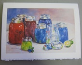 Canning Jars Jellies 5 x 7 Note Card watercolor print by WatercolorsNmore Kitchen Jam