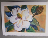Magnolia Note Card  5 x 7 blank Golden blossom flower  Southern Plantation watercolor print