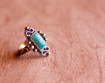 Chrysocolla Ring * Chrysocolla Jewelry * Statement Ring * Ring Size 7 * One of a Kind Ring * Big Rings * Boho Rings * Size 7 Ring