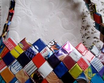 Candy/Gum Wrapper zipper purse clutch in bright colors