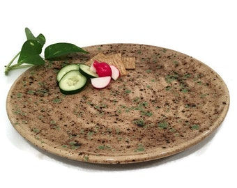 Hand Painted Ceramic Platter in Earth Tone Brown and Green