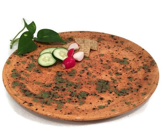 Hand Painted Ceramic Platter in Earth Tone Caramel Brown and Green
