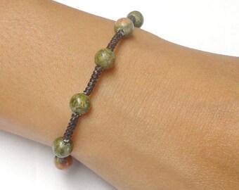 Unakite Gemstone BEAD Jewelry Fair Trade Braided Wax COTTON Womens Asian Wristband Bracelet