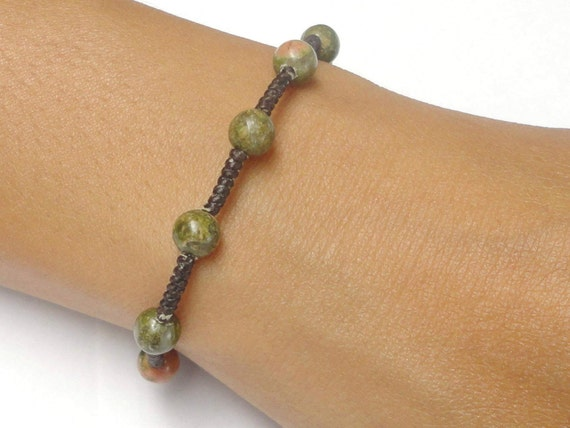Unakite Gemstone BEAD Jewelry Fair Trade Braided Wax COTTON Womens Asian Wristband Bracelet