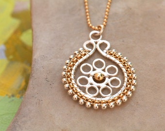 Gold and Silver Long Teardrop Flower Necklace