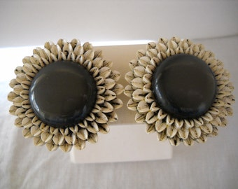 Huge Vintage Clip Earrings Early Plastic Celluloid Daisy Flower Gray White FREE SHIPPING