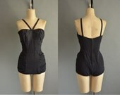 50s black one piece vintage swimsuit / vintage 1950s swimsuit
