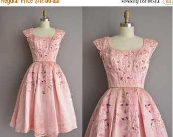25% off SHOP SALE... 50s pink satin sequin full skirt vintage party dress / vintage 1950s dress