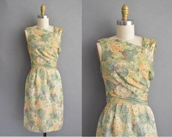 vintage 1950s dress / 50s glittery floral vintage cocktail wiggle dress