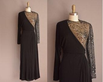 50s one shoulder sequin vintage party dress / vintage 1950s dress