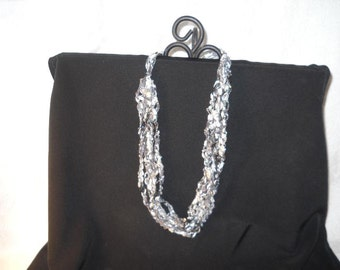 Ladder Necklace, Trellis Necklace / Crochet Necklace, Black and Silver