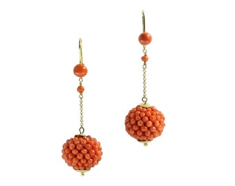 Antique gold dangle earrings with red coral