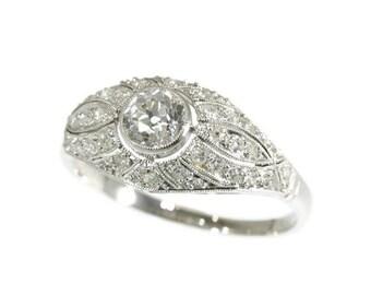 30% Off Sale Original Art Deco Ring Diamond Platinum 1920s Old European Cut Diamonds Engagement Ring