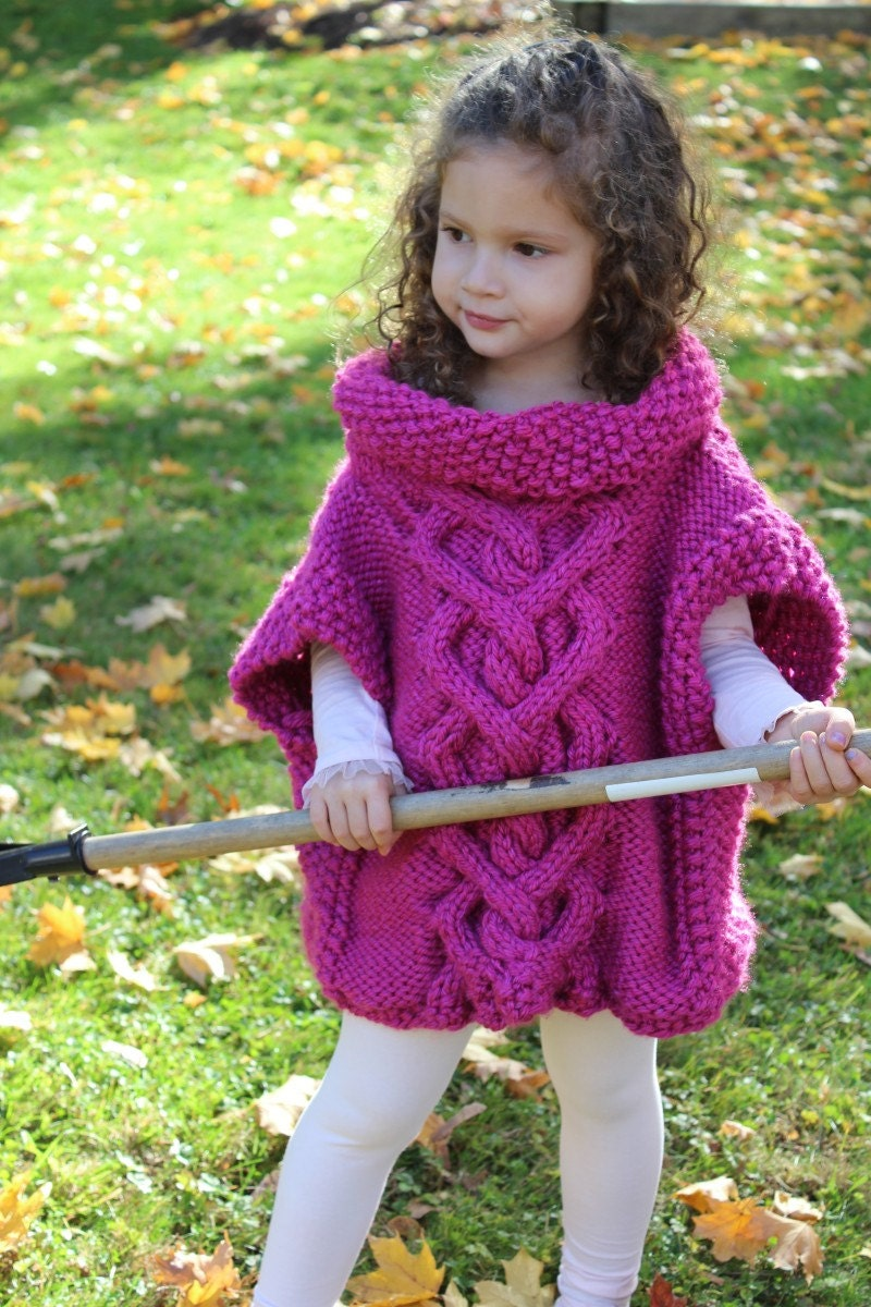 Knitting Pattern Cape Child : KNITTING PATTERN The Kate Pullover Poncho toddler child