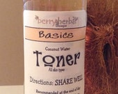 99.5% Natural Lemongrass Coconut Water FACIAL TONER~Alcohol Free-8 fl oz--FREE U.S. Shipping